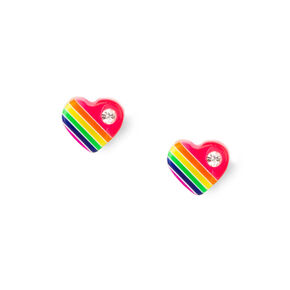 Sterling Silver Rainbow Crystal Heart Stud Earrings,