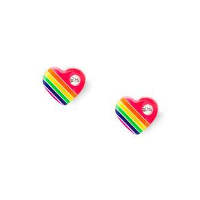 Sterling Silver Rainbow Crystal Heart Stud Earrings,