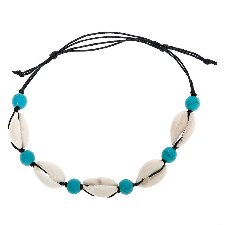 Cowrie Shell Bead Adjustable Bracelet - Turquoise,