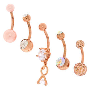 Rose Gold Blushing Bride Belly Rings - 5 Pack,