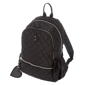 Quilted Satin Midi Backpack - Black,