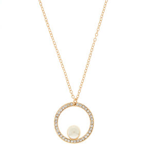 Gold Pearl Open Circle Pendant Necklace,