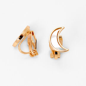Gold Stone Crescent Moon Clip On Stud Earrings,