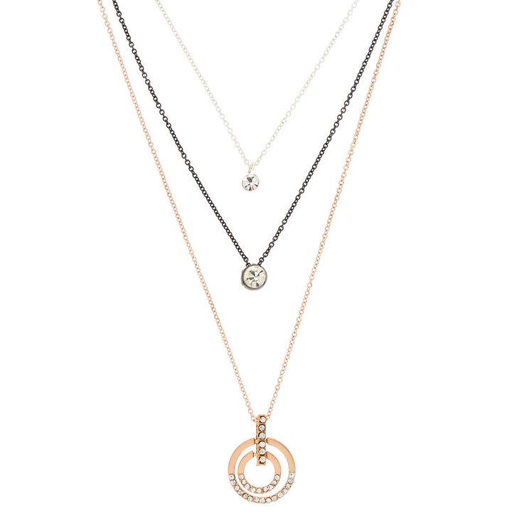 Mixed Metal Minimalist Multi Strand Necklace,