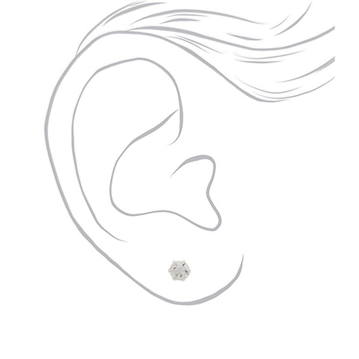 Sterling Silver Graduated Crystal Stud Earrings - 3 Pack,