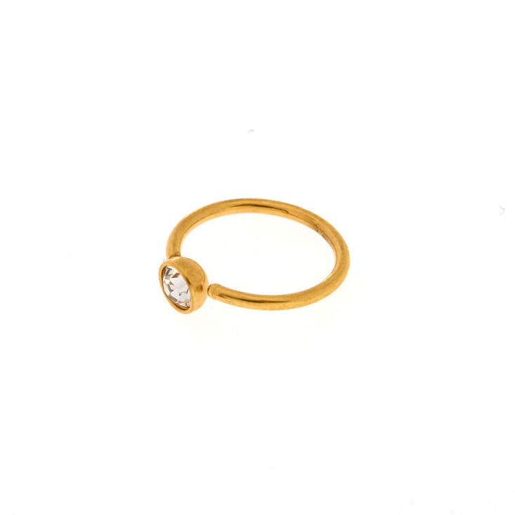 Clear Crystal Gold Nose Ring,