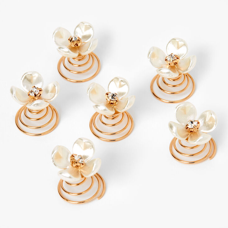 Gold Pearlized Flower Hair Spinners - 6 Pack,