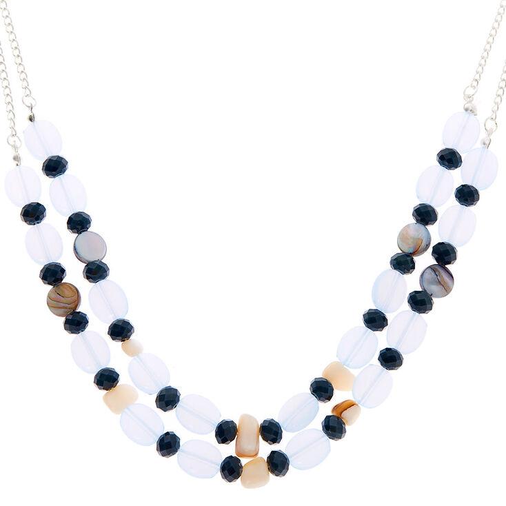 Silver Seashell Stone Multi Strand Necklace - Blue,
