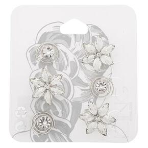 Silver Rhinestone Floral Hair Spinners - 6 Pack,