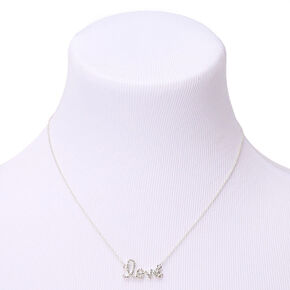Silver Embellished Love Pendant Necklace,