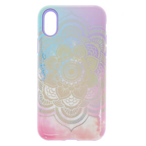 Pastel Holographic Mandala Protective Phone Case - Fits iPhone X/XS,