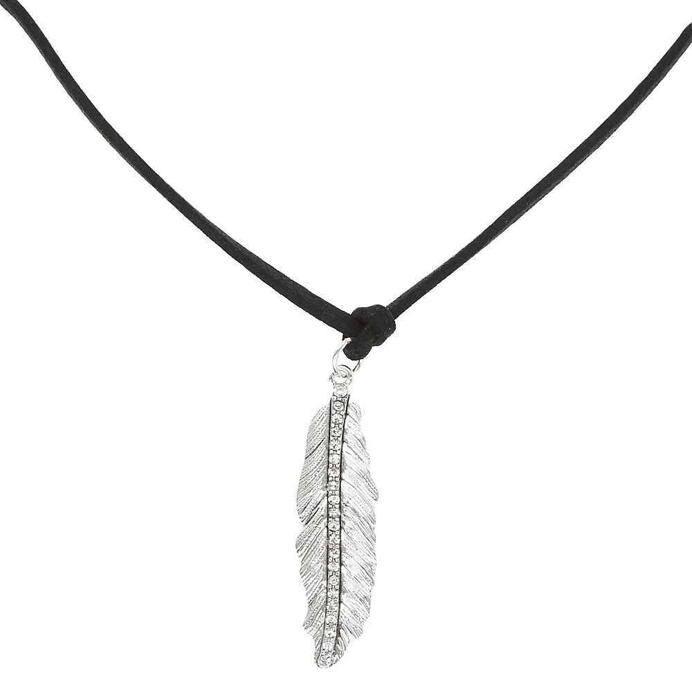 Velvet Silver Leaf Choker Necklace
