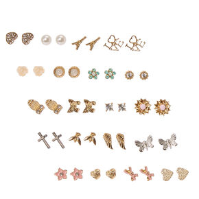 Gold Tone Romantic Motif Stud Earrings Set of 20,