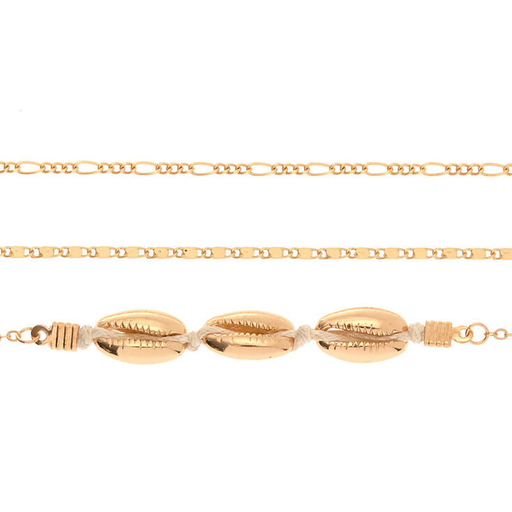 Gold Cowrie Shell Choker Necklaces - 3 Pack,