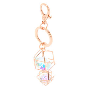 Geometric Crystal Keychain - Rose Gold,