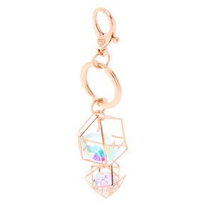 Geometric Crystal Keychain - Rose Gold,