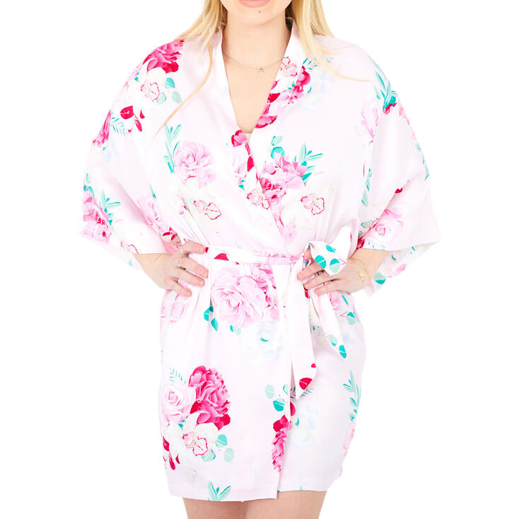 Pink Floral Satin Robe - S/M,