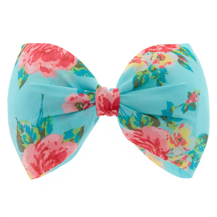 Floral Mint Bow Hair Clip,