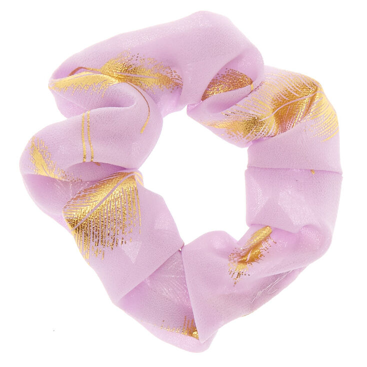Medium Gold Leaf Hair Scrunchie - Lilac,