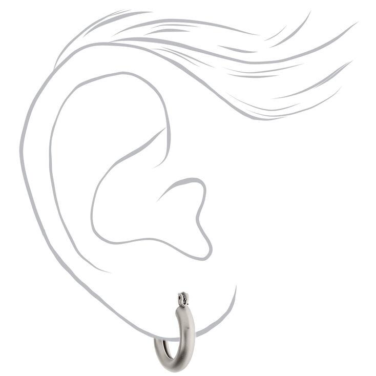 Silver 20MM Matte Hoop Earrings,
