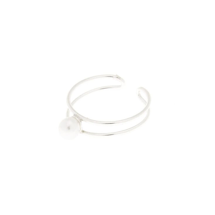 Sterling Silver Double Band Opal Toe Ring,