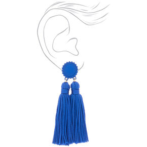 "3"" Double Tassel Drop Earrings - Blue,"