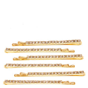 Gold Linear Crystal Hair Pins - 6 Pack,