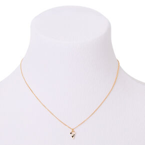 Gold Striped Initial Pendant Necklace - V,