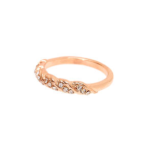 Rose Gold Embellished Twist Ring,