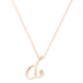 Rose Gold Cursive Initial Pendant Necklace - D,