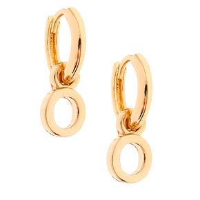Gold 10MM Initial Huggie Hoop Earrings - O,