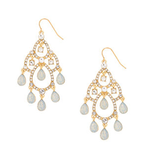 "Glass Rhinestone 2"" Chandelier Drop Earrings - Opal,"