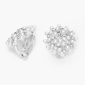 Silver Crystal Pearl Cluster Clip On Stud Earrings,