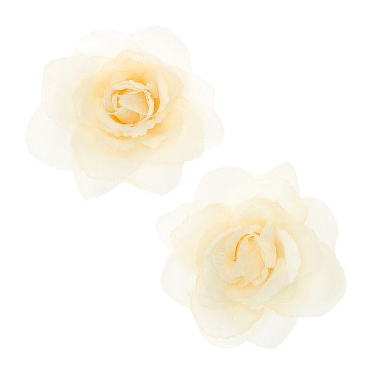Cream Rose Hair Clips,