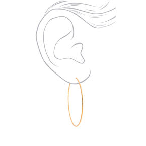 Gold 60MM Textured Hoop Earrings,