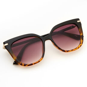 Two Tone Tortoiseshell Cat Eye Sunglasses - Black,