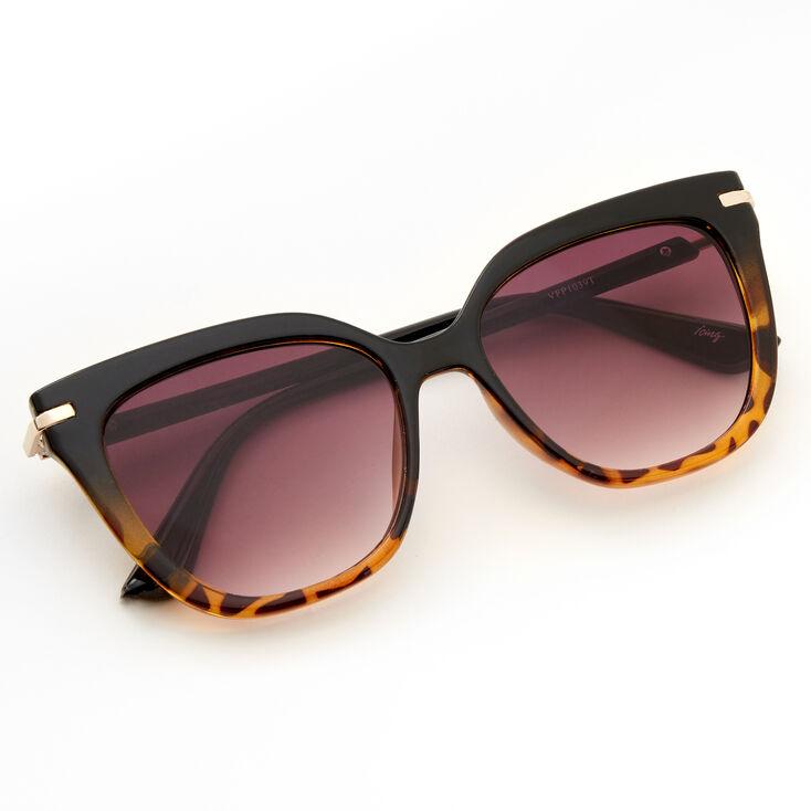 Two Tone Tortoiseshell Cat Eye Sunglasses - Black,