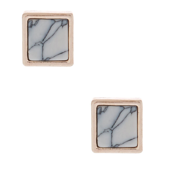 Rose Gold Marbled Square Stud Earrings - White,