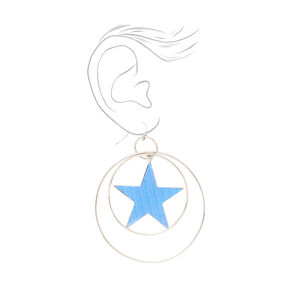 "Silver 3"" Mirrored Star Circle Drop Earrings,"