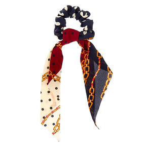 Small Chain Hair Scrunchie Scarf - Navy,