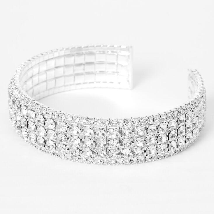 Silver Rhinestone Glam Cuff Bracelet,