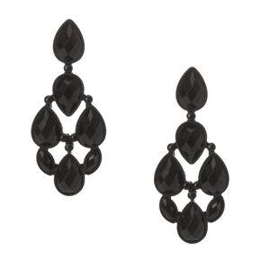 Black Stone Teardrop Drop Earrings,