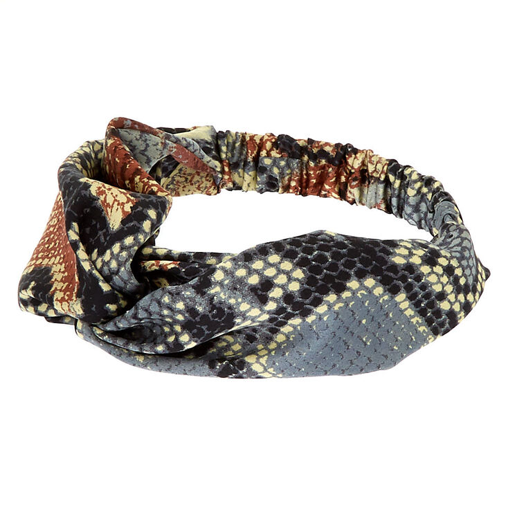 Snakeskin Twisted Headwrap - Brown,