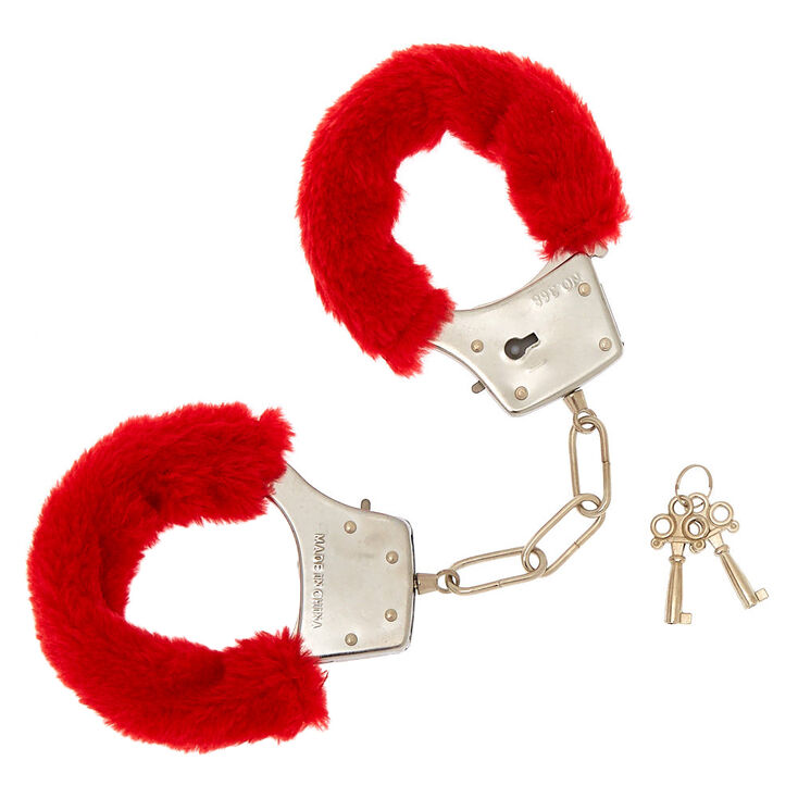 Furry Hand Cuffs - Red,