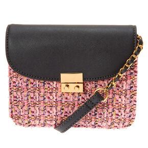 Tweed Crossbody Bag - Pink,