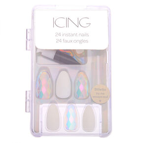 Aurora Borealis Disco Faux Nail Set - Clear, 24 Pack,