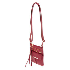 Wine Colored Faux Leather Crossbody Bag,