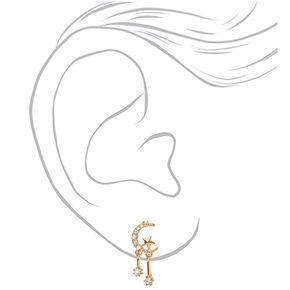 """Gold 1"""" Celestial Drop Earrings,"""