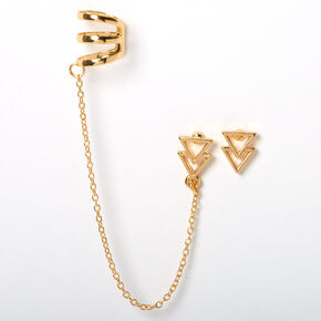 Gold Double Triangle Connector Earrings,