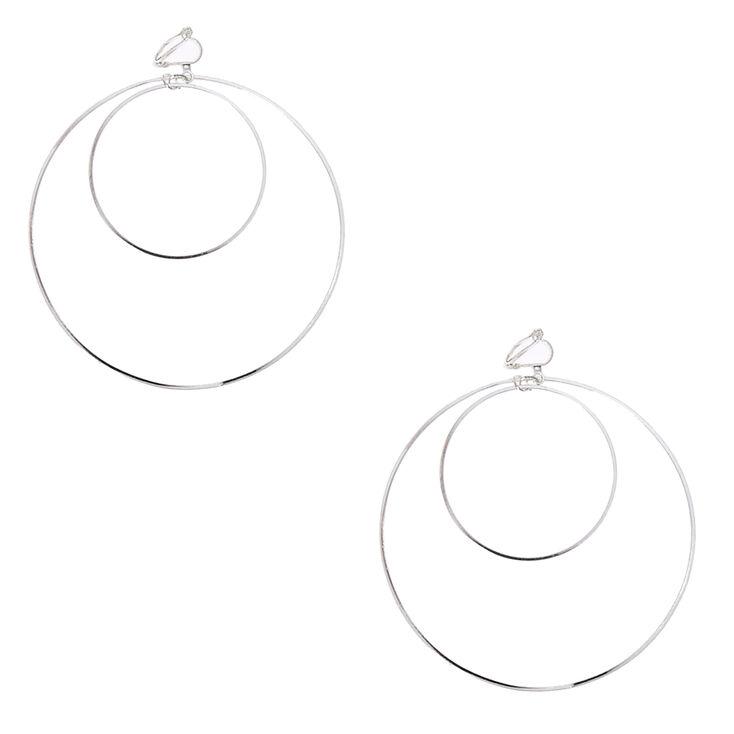 Silver Tone Double Hoop Clip-on Earrings,